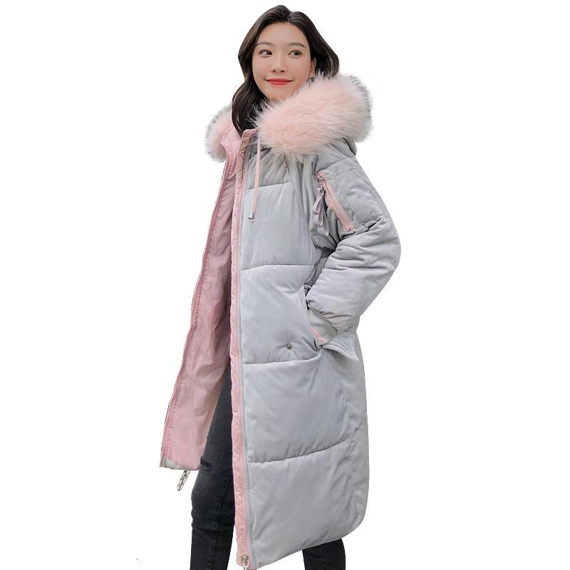 A jaqueta de veludo inverno de 2019 dá de alta qualidade mulheres quentes grossas Paka longo floco de neve vestidos