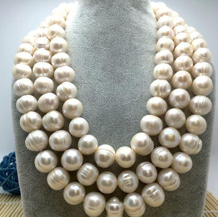 "Gioielli di perle pregiate di alta qualità ENORME 12-13MM NATURALE SUD MARE ORIGINALE COLLANA PERLA BIANCA 50 ""14K GOLD CLASP catena maglione"
