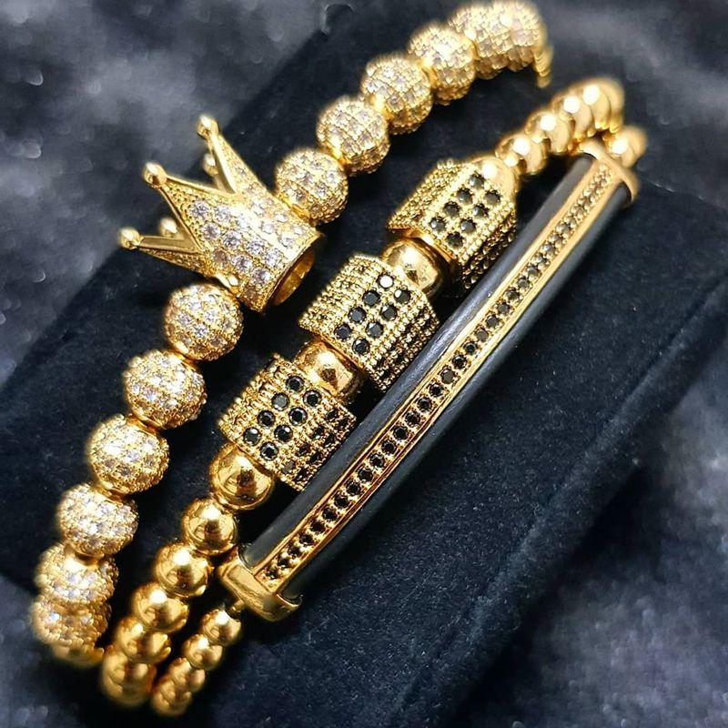 Gioielli Corona Charm con borchie Zircon Bracciale da uomo con cinturino da uomo in pizzo perlina da donna
