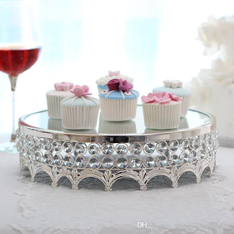 Soporte de la torta de cristal de metal europeo Decoración de la mesa para hornear festivos para hornear Suministros de boda Precios de la boda Galletas de pastel Placa de bandeja con espejo