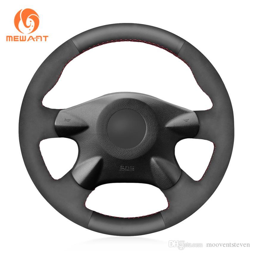 MEWANT Custom DIY Black Suede with Leather Steering Wheel Cover Wrap for Nissan Almera N16 Pathfinder Primera Paladin X-Trail Samsung SM3