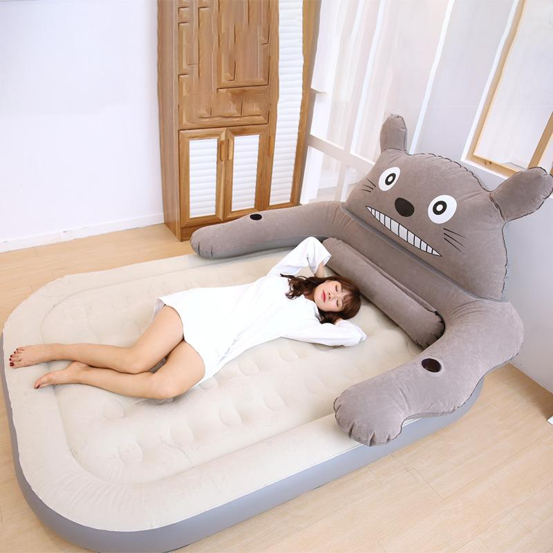 Cartoon Totoro Design Flocked PVC Inflatable Bed Potable Lounge Air Bed Rest Pocket Indoor Outdoor R1346