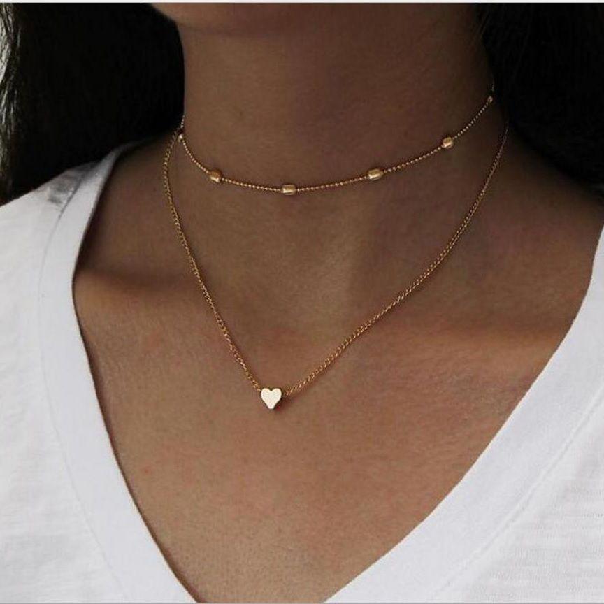 cadena gargantilla collar Bead Dos capa de la moda con la cadena O a través de Corazón de plata y el color oro plateado