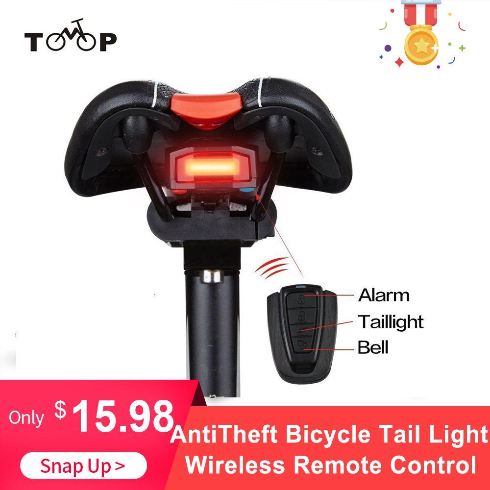 Feu arrière vélo + alarme anti-vol de charge USB Télécommande sans fil LED Tail lampe vélo Finder lanterne Corne sirène Avertissement Y191211