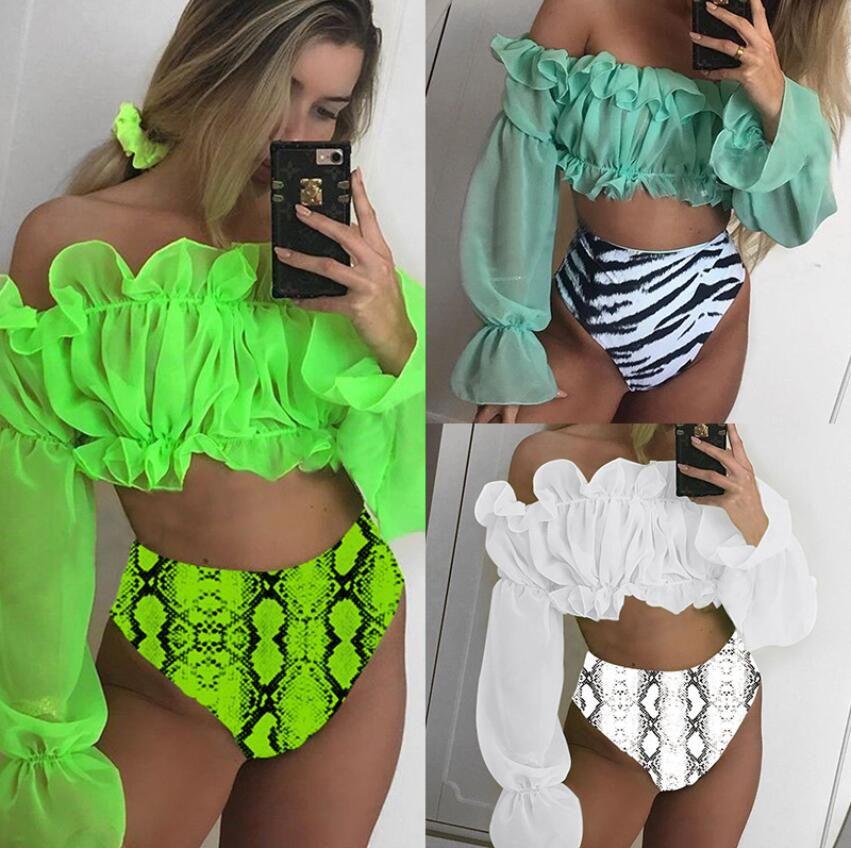 Frauen Sexy Neon-Leuchtstoff Bikini Set Mesh-Laterne Hülse Badeanzug mit Rüschen Spitze hohe Taille Hose Bikini Snakeskin Druckbadebekleidung Badeanzug
