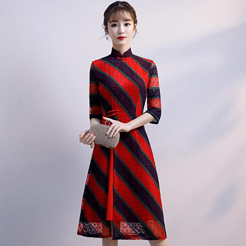 d51d19b8d014c Fashion AO Dai Knee Length Cheongsam Chinese style Mandarin Collar Dress  2019 Women Summer Lace Qipao Slim Party Dresses Vestido