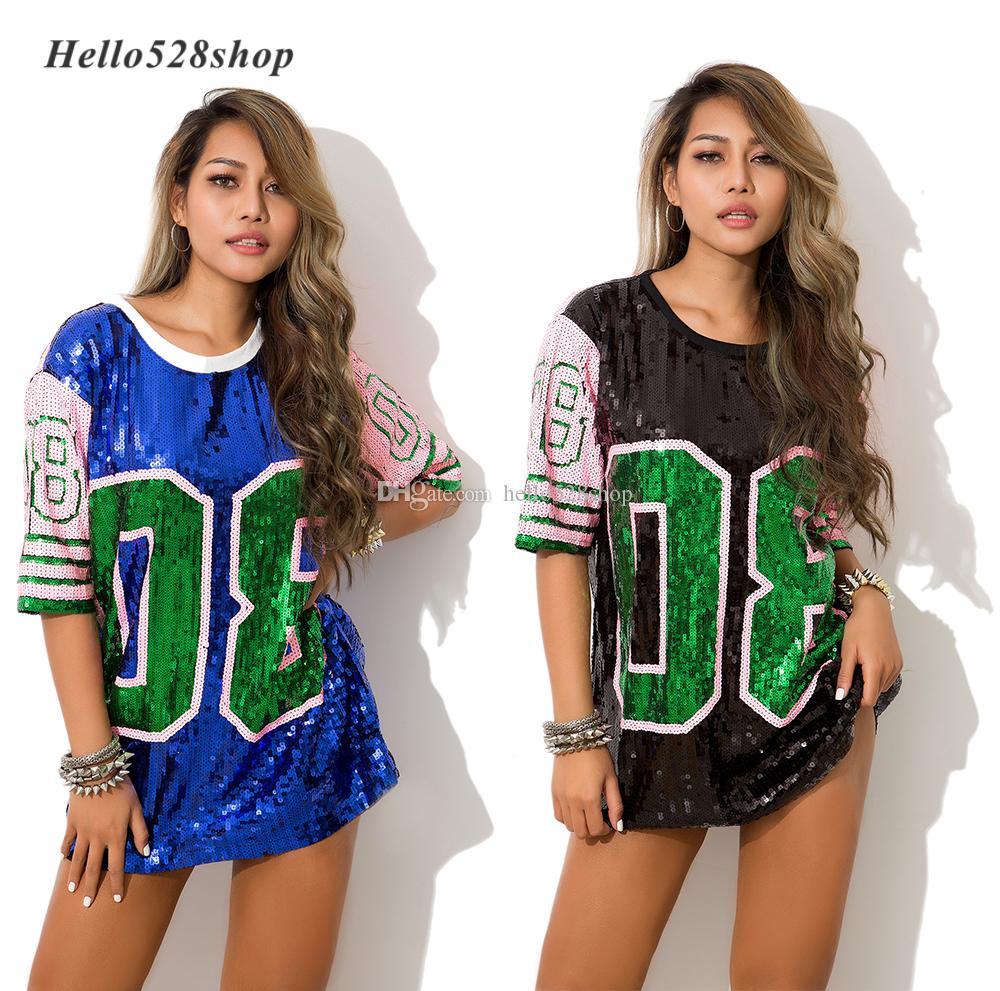 Hello528shop Fashion 08 Numero Ladies Cinghie Tops Donna Film Performance Nightclub DS Hip-Hop Girocollo Stile Baggy