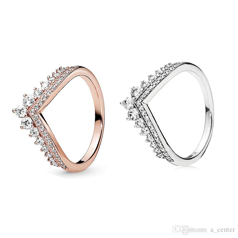 2019 neue Prinzessin Wunsch Ring für Pandora 925 Sterling Silber mit CZ Diamant Rose Gold Hohe Qualität Charme Damen Ring