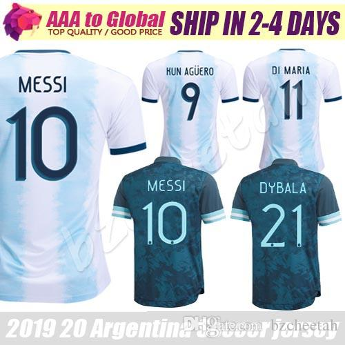 Аргентина Джерси 2020 Лучшее качество футбол Джерси Аргентина Месси Dybala Ди Мария Игуаин Куна Агуэро рубашки футбола Джерси