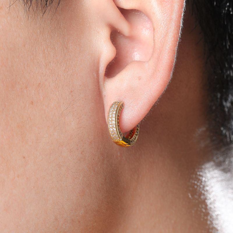 Luxury Designer Jewelry Women Earrings Hip Hop Iced Out Earring Bling Men Diamond Stud Earings Rapper Hiphop Gold Silver Hoop Earing Gift
