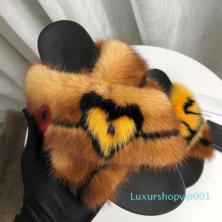 Venta-2019 Hot Celebrity piel zapatillas otoño de moda al aire libre mulas leopardo de piel de visón Diapositivas 005