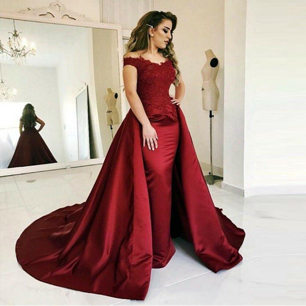 ملابس دبي الحمراء العربية في المساء الطويل V Neck Muslim Appliques Lace Satin Formal Gowns For Women Robb de Soire
