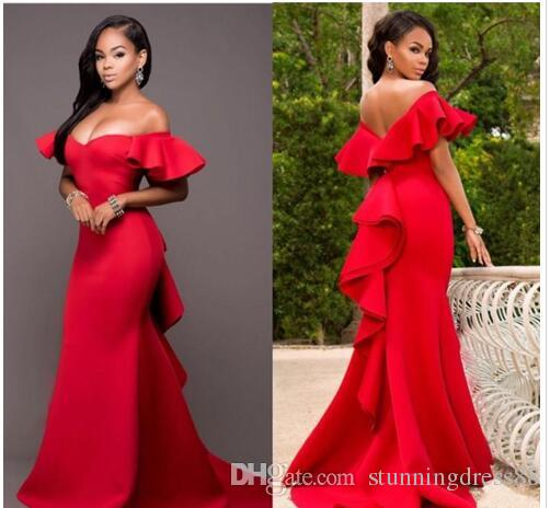 African Black Women Evening Prom Dress Red Off the shoulder with Short Sleeves Ruffled Long Cheap Red Carpet Celebrity Dress