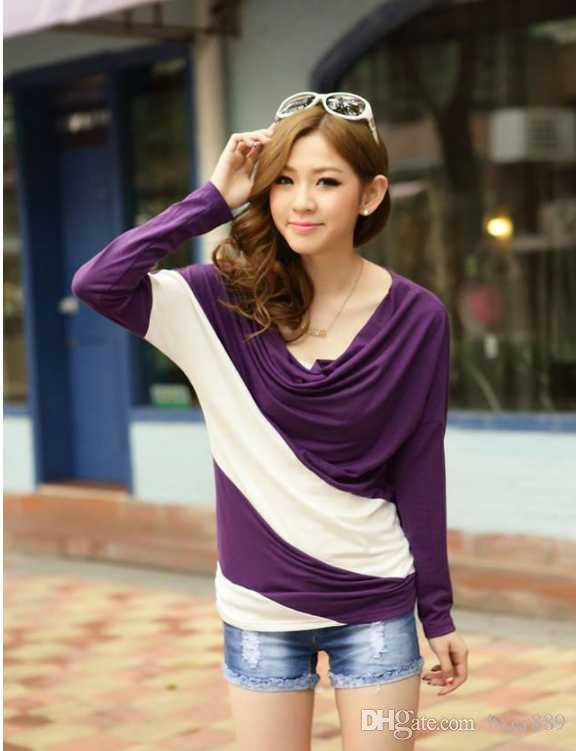 2020 Yeni Sonbahar T-Shirt Moda Kadın T-Shirt Giyim Gevşek Uzun Kollu Dikiş Çizgili Bayanlar Için Çizgili Triko Kazak T Shirt A41