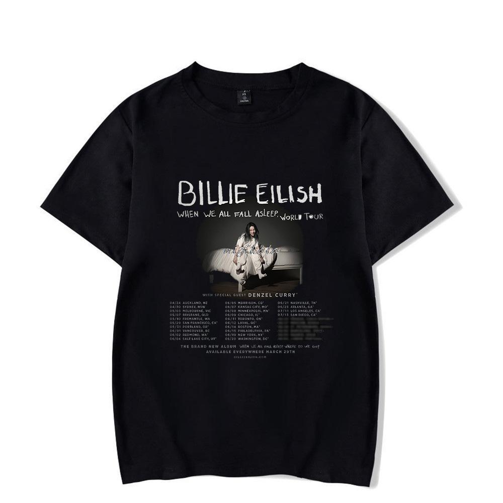 Billie Eilish T-shirt Nouvel album Shirts When We All Fall Asleep Where Do We Go à manches courtes hommes / femmes unisexe Harajuku Tops