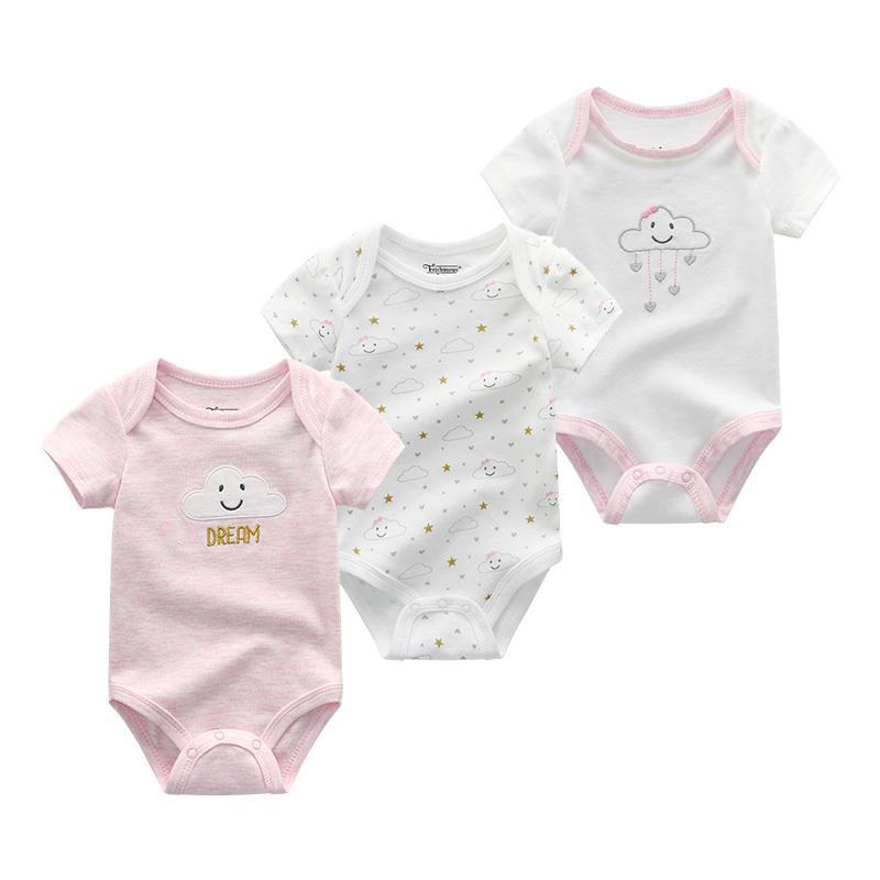 3PCS/LOT Baby Girl Clothes Newborn Boy Romper Set Short Sleeve Baby Onesie Summer Cartoon Toddler Jumpsuit Clothing ropa de bebe CX200530