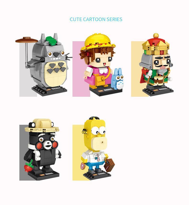 LOZ 만화 심슨 가족, 토토로 곰, 호두 까기 인형 인형 빌딩 블록, 미니 DIY 조립 교육 장난감, 장식, 아이 생일 선물 2-1