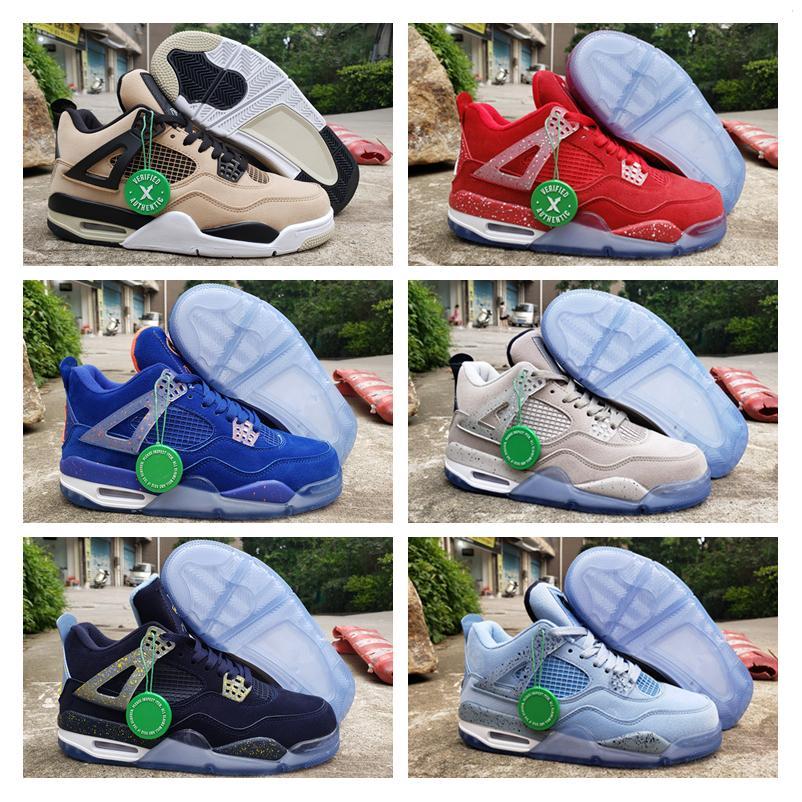 New Georgetown Marquette 4 Oklahoma PE Floride Michigan Basketball Shoes UNC poudre Cool Blue Gris Silt Rouge Mens Designer de sport Chaussures de sport