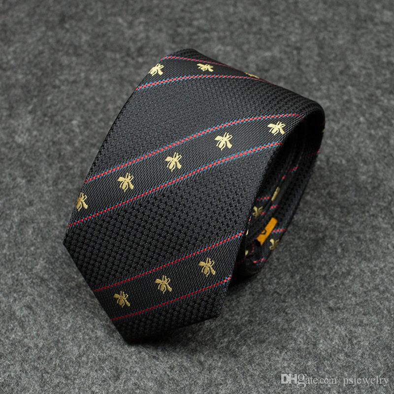 padrão de moda personalidade bordados empate abelha cor patchwork selvagem laço formal do negócio de homens novos homens laço