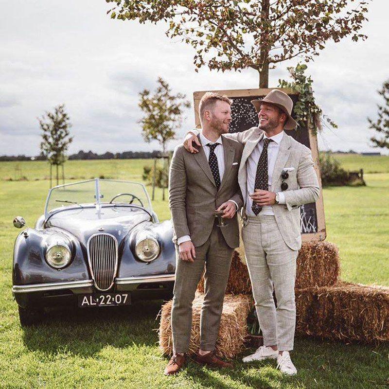 Summer Grey Terno Masculino Ivory Linen Men Suits 2019 Wedding Man Blazer Groom Tuxedos 2Piece Slim Fit Terno Masculino