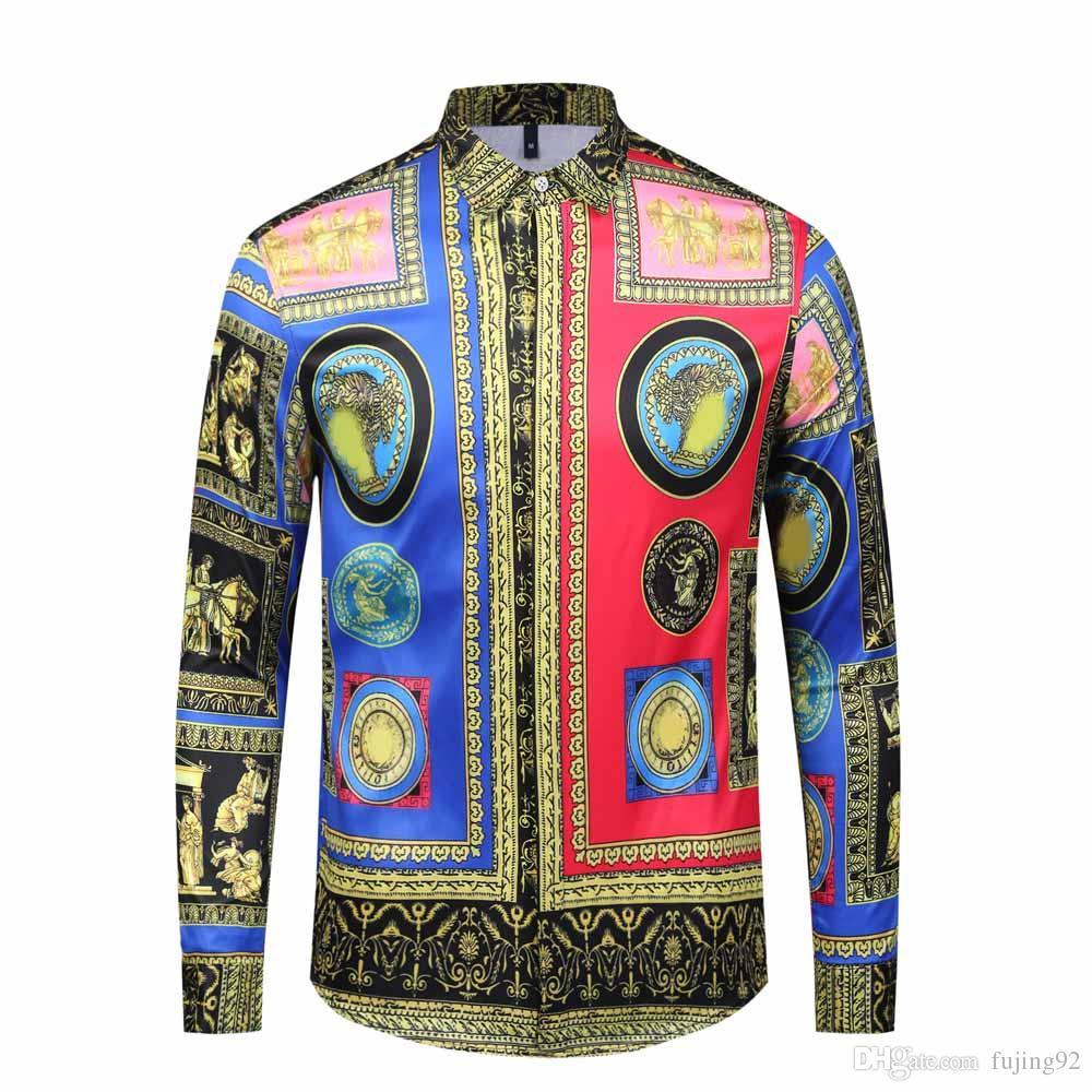 2019 NUEVA nueva primavera y otoño camisa de algodón de los hombres Medusa flor retro impresión en color casual Harajuku lujo camisa de vestir de los hombres