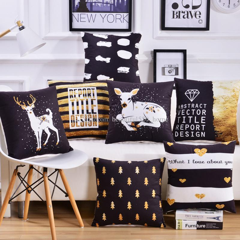 """Soft Lint Cushion Covers 18""""x 18"""" Car Square Pillow Covers Sofa Indoor Outdoor Throw Pillows Cases BH18106"""