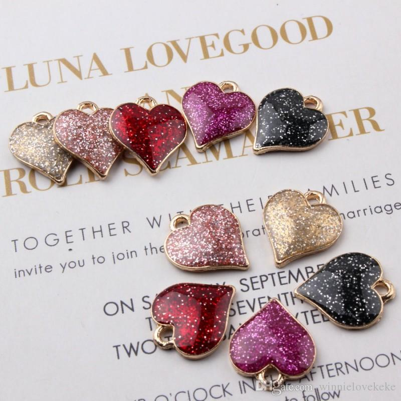 100PCS 15*17MM Heart Charms Enamel Pendants Diy Jewelry Accessories In Gold Metal Craft Supplies Jewelry Findings