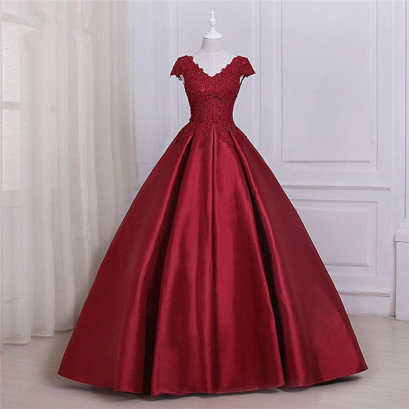 빨간색 새틴 댄스 파티 드레스 사용자 정의 우아한 V 목 캡 슬리브 저녁 바닥 길이 파티 가운 가운 드 마리레