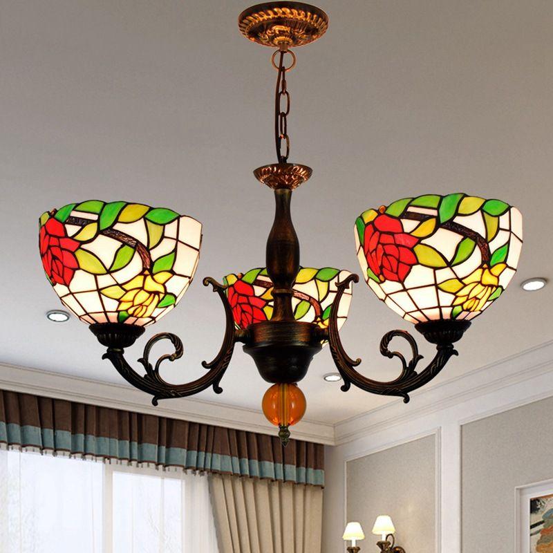 Lâmpadas pendentes Europeu 3 cabeças Rosa Candelabro Criativo Tiffany Color Light Luminária para quarto Vivendo sala de jantar