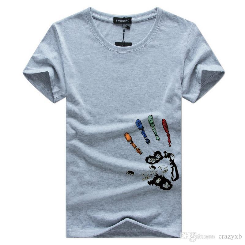 Neue Mens-T-Shirts Art und Weise Sommer O-Ansatz Slim Fit Kurzarm T-Shirt Männer mercerisierte Baumwolle-Kleidung Lässige Männer T-Shirt