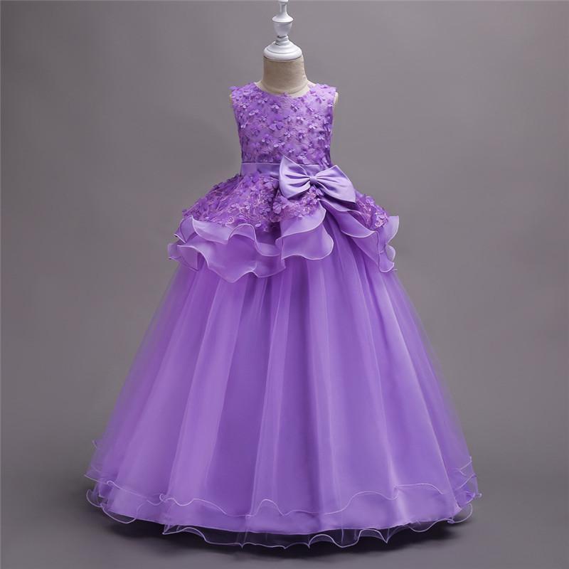 Без рукавов Длина пола Длинные Цветочные платья девушки с Overlay юбка девушки формальный повод партии Pageant платье