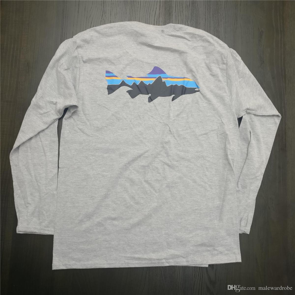 Hombre blanco de Montaña Patagonia diseñador camisetas O-cuello camiseta Tops Manga larga Moda Ropa de la marca Tee
