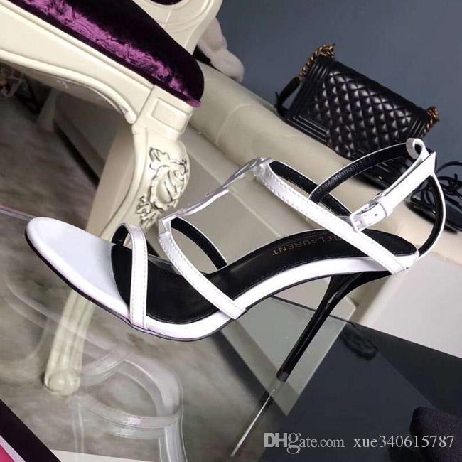 Top quality 2019 di lusso in stile design in pelle verniciata Tacchi a spillo donne uniche lettere sandali vestito scarpe da sposa scarpe di marca sexy