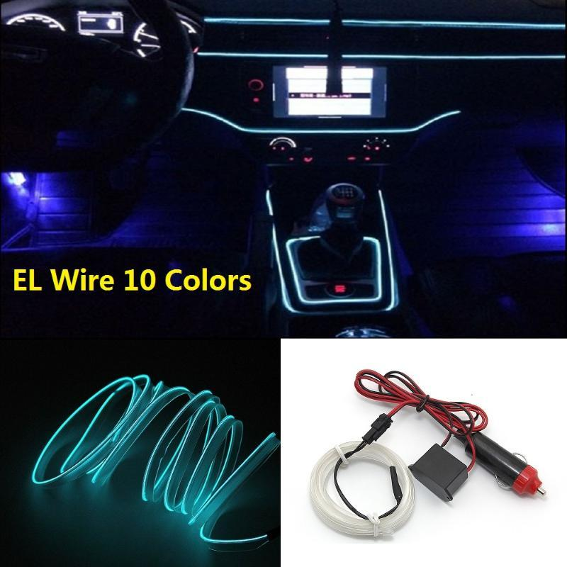 10 Colors 1m 2m Flexible Neon EL Wire Rope Tube Car LED Strip Lights 12V Universal Auto Interior Light Atmosphere Lamp