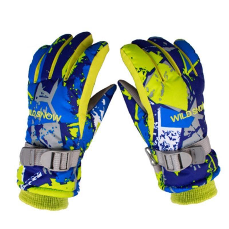 Kids Boys Girls Ski Gloves Warm Youth Waterproof Breathable Sports Snow Mittens