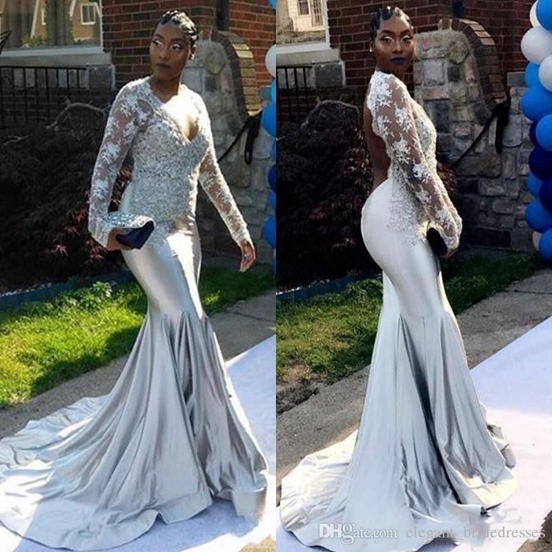 Afrique du Sud V Cou Robes De Soirée Profondes Satin Illusion Manches Longues Sirène Robe De Bal Longues Robe De Soirée De Soirée Event Wear Plus La Taille 2019