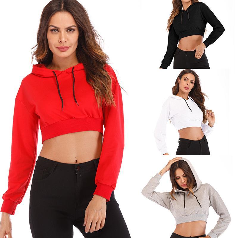 Kadınlar Kapüşonlular Streetwear Casual Gevşek Kazak midriff-barikat Patchwork Bayan Giyim Crop Top Kapşonlu Polyester Boyutu S-XXL