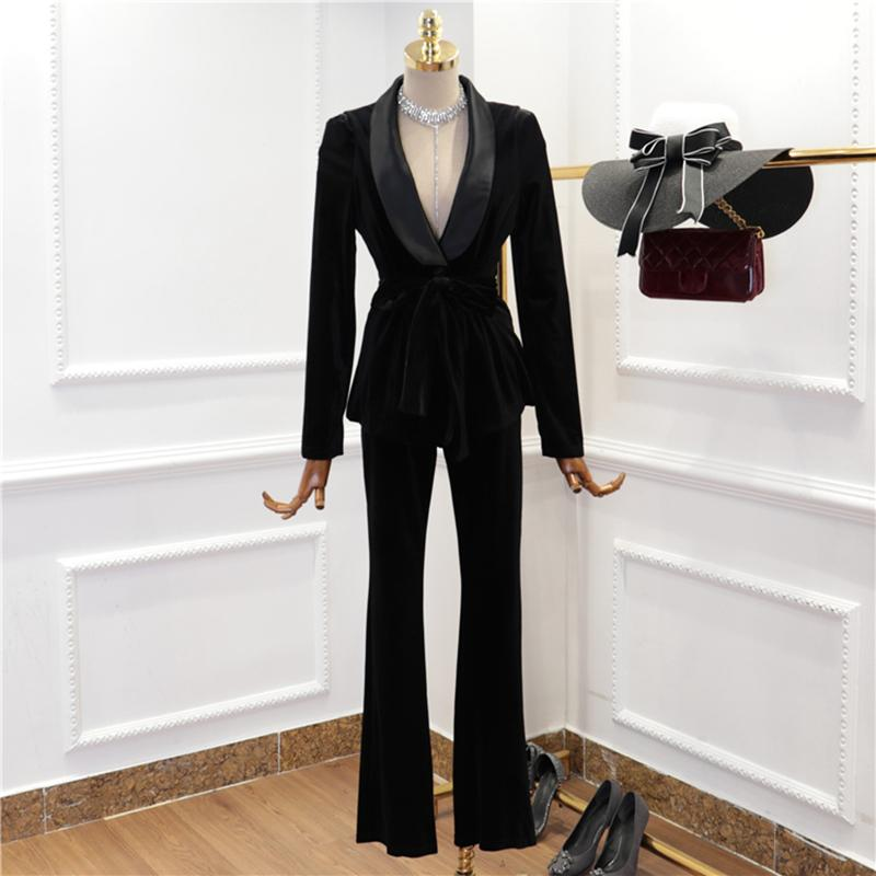 HIGH STREET nuovo modo 2020 del progettista della pista del vestito Scialle di Set donne colletto di velluto Blazer Coat Pantaloni Set