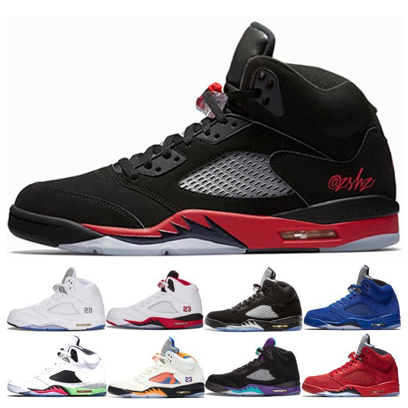 Yeni Sıcak 5 5s Bred Erkek Basketbol Ayakkabı 2019 Erkek Space Jam Mavi Süet Beyaz Kırmızı Süet Metalik Gümüş Atletizm Sneaker Ayakkabı Çimento
