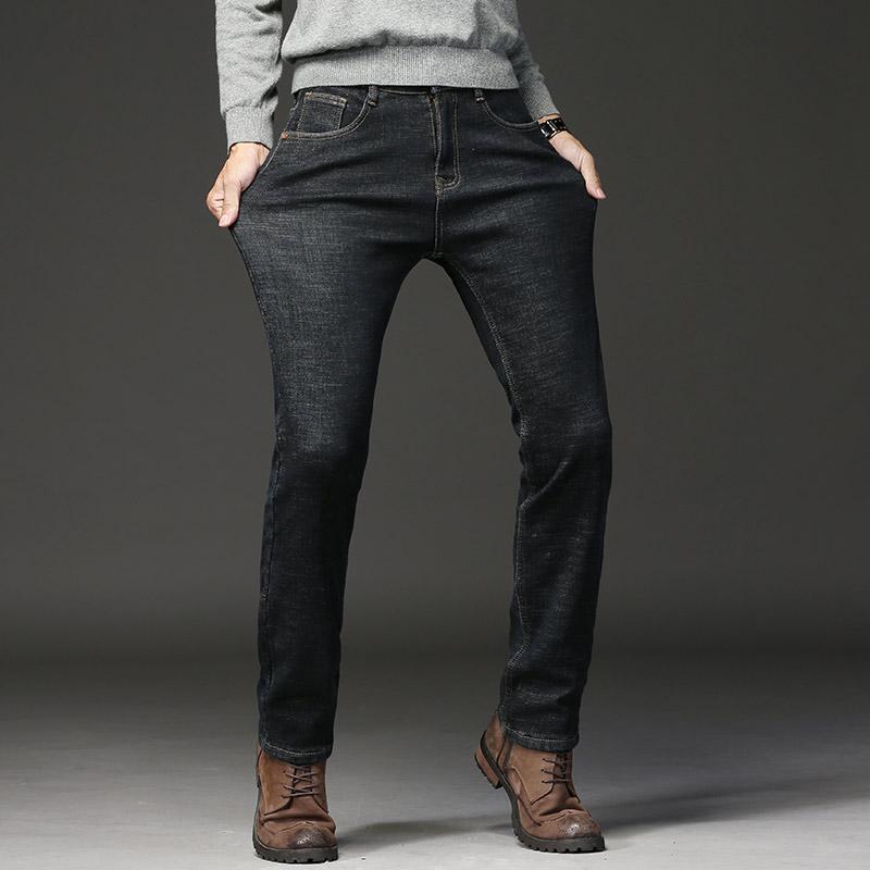 2019 Primavera Otoño Cintura media Clásico Hombres Jeans Algodón Casual Estiramiento recto Marca Jeans Pantalones de mezclilla gruesa Pantalones