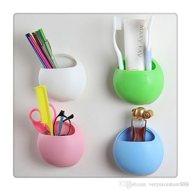 Присоске для ванной Душ Кухня Настенный держатель для зубных щеток Настенный стенд Hook Белый Розовый Синий Зеленый Бесплатная доставка
