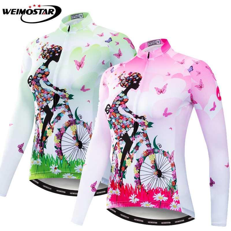 2020 사이클링 저지 긴 소매 MTB 여성 자전거 의류 도로를 타고 셔츠 자전거 사이클링 의류 핑크 그린
