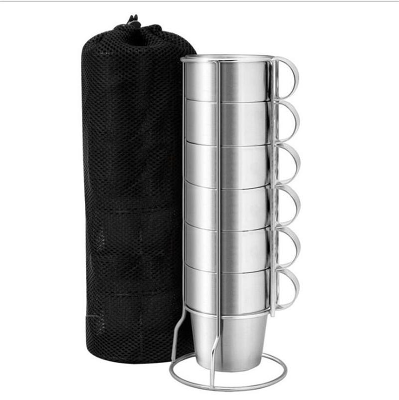 Sıcak Satış 6 Adet / Set Paslanmaz Çelik İzoleli Bardaklar Kahve Kupalar Çift Katmanlı Isı Yalıtımı Kiti TY