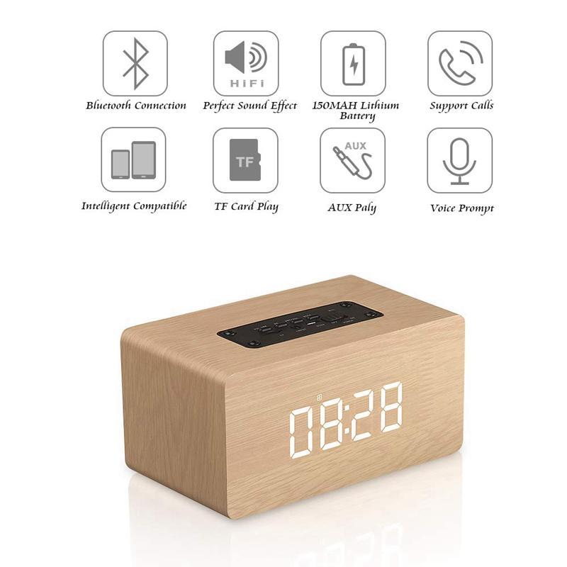 Bluetooth Lautsprecher-Digital-Wecker aus Holz, V4.2 beweglichen drahtlosen Dual Driver Lautsprecher, 1500 Mah, Led Zeitanzeige, Tf-Card