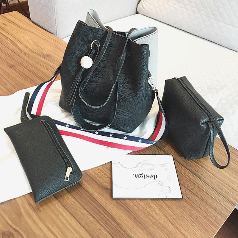 Cubo de hombro Calidad Cofita Conjunto de correa Bolsa femenina Damas 3 bolso de rayas Bolsas de colores Sólido Bolsa Alta Moda Hombro Okrjt