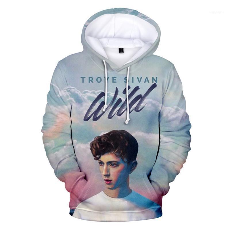 Pareja sudaderas flojo de la manga vestir de cuello redondo suéter ropa ocasional Troye Sivan 3D del diseñador camisetas de la manera del otoño del resorte