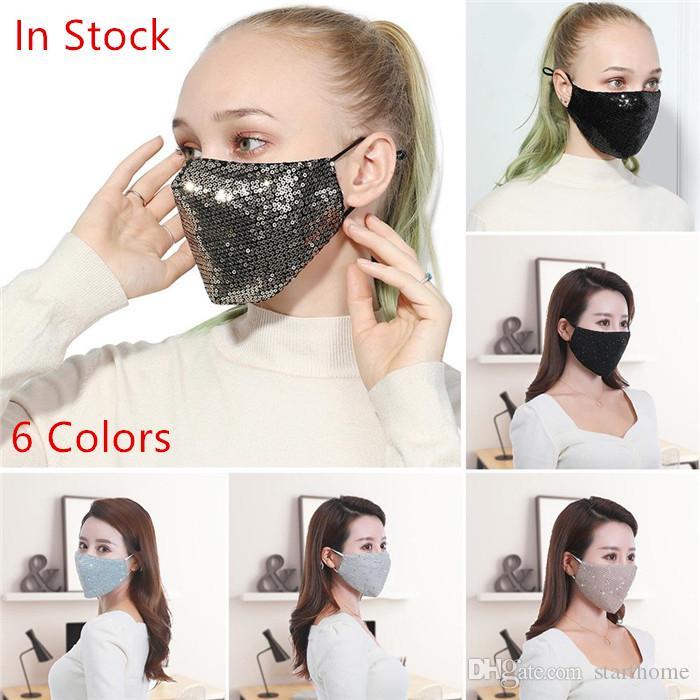 Máscaras de las mujeres de Bling Bling de las lentejuelas de la cara anti-polvo respiración por la boca de la máscara del respirador reutilizable de la mascarilla 40pcs de la máscara del respirador algodón lavable