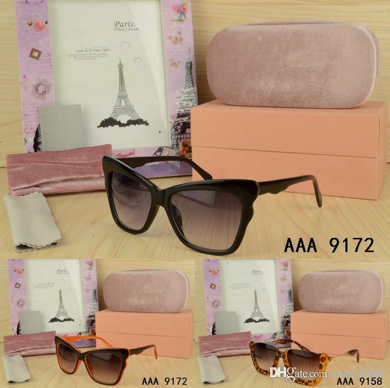 Moda caliente Ojo de gato Diseñador Señoras gafas de sol Gafas al aire libre mujeres con caja original de lujo UV400 Gafas de sol 100% Protección UV Gafas
