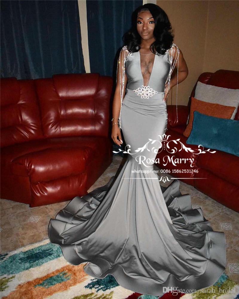 Sexy Plus Size promenade della sirena Abiti 2020 Liste Illusion Cristalli Black Girls Pageant 2K20 partito convenzionale degli abiti di sera