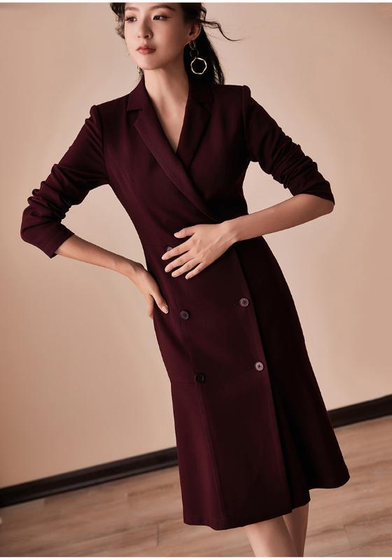 Abiti Donne 2020 Autunno Inverno di lusso a maniche lunghe Blazer Giacca elegante doppio petto Dress Office Lady Plus Size